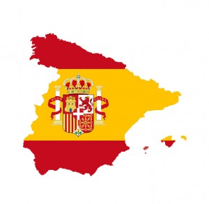 Spain map with spain flag inside. Vector illustration