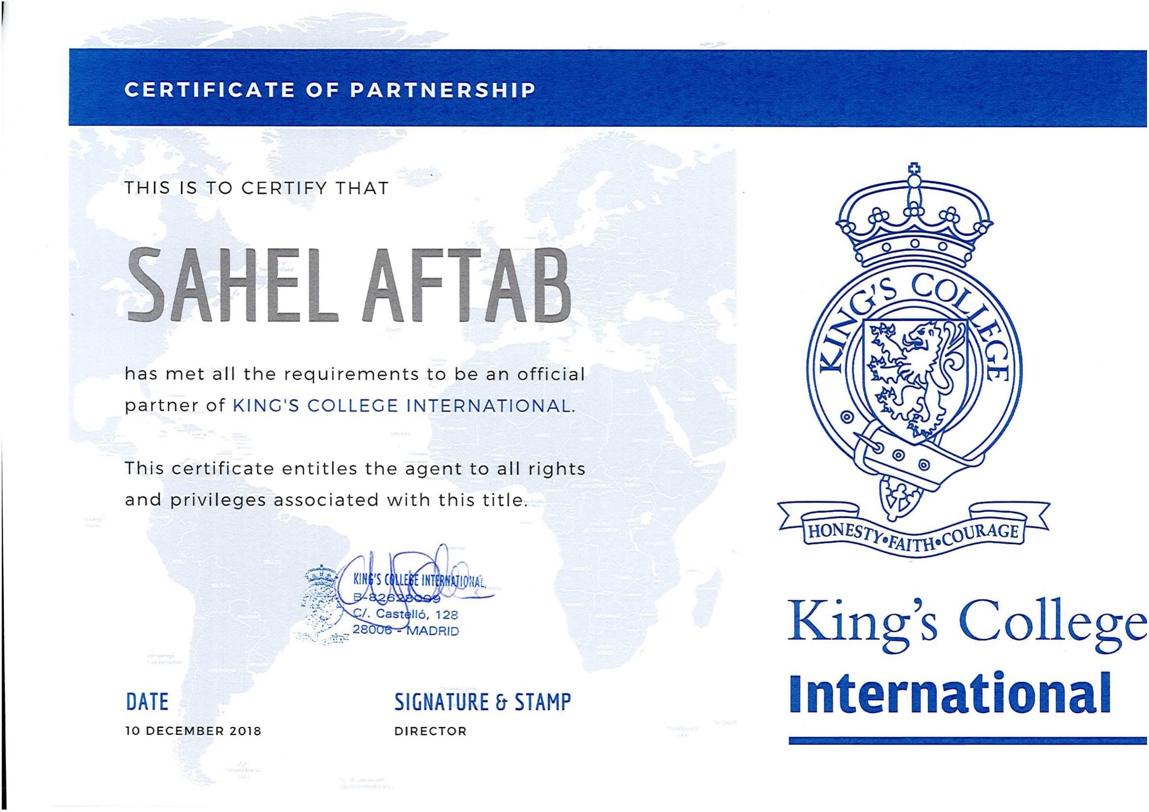 Certificate of partnership KCI- SAHEL AFTAB-1